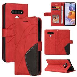 Luxury Two-color Stitching Leather Wallet Case Cover for LG Stylo 6 - Red