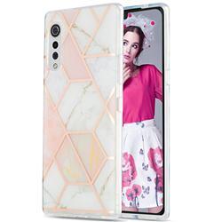 Pink White Marble Pattern Galvanized Electroplating Protective Case Cover for LG Velvet 5G (LG G9 G900)