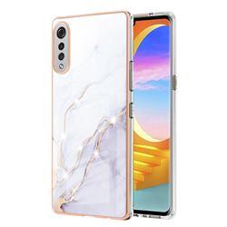White Dreaming Electroplated Gold Frame 2.0 Thickness Plating Marble IMD Soft Back Cover for LG Velvet 5G (LG G9 G900)