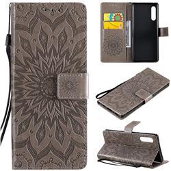 Embossing Sunflower Leather Wallet Case for LG Velvet 5G (LG G9 G900) - Gray