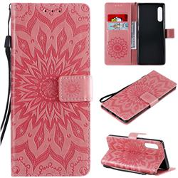 Embossing Sunflower Leather Wallet Case for LG Velvet 5G (LG G9 G900) - Pink