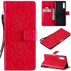 Embossing Sunflower Leather Wallet Case for LG Velvet 5G (LG G9 G900) - Red