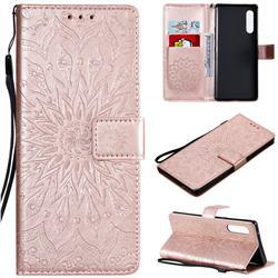 Embossing Sunflower Leather Wallet Case for LG Velvet 5G (LG G9 G900) - Rose Gold