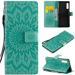 Embossing Sunflower Leather Wallet Case for LG Velvet 5G (LG G9 G900) - Green