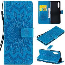 Embossing Sunflower Leather Wallet Case for LG Velvet 5G (LG G9 G900) - Blue