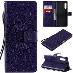 Embossing Sunflower Leather Wallet Case for LG Velvet 5G (LG G9 G900) - Purple