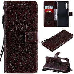 Embossing Sunflower Leather Wallet Case for LG Velvet 5G (LG G9 G900) - Brown