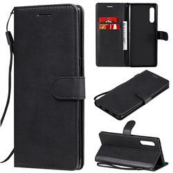 Retro Greek Classic Smooth PU Leather Wallet Phone Case for LG Velvet 5G (LG G9 G900) - Black