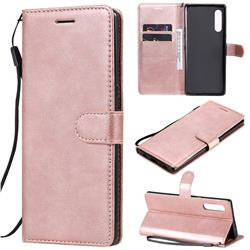Retro Greek Classic Smooth PU Leather Wallet Phone Case for LG Velvet 5G (LG G9 G900) - Rose Gold