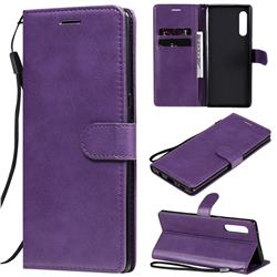 Retro Greek Classic Smooth PU Leather Wallet Phone Case for LG Velvet 5G (LG G9 G900) - Purple