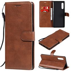 Retro Greek Classic Smooth PU Leather Wallet Phone Case for LG Velvet 5G (LG G9 G900) - Brown