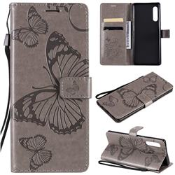 Embossing 3D Butterfly Leather Wallet Case for LG Velvet 5G (LG G9 G900) - Gray