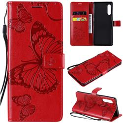 Embossing 3D Butterfly Leather Wallet Case for LG Velvet 5G (LG G9 G900) - Red