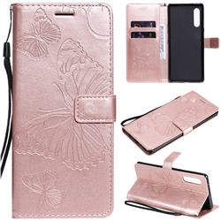 Embossing 3D Butterfly Leather Wallet Case for LG Velvet 5G (LG G9 G900) - Rose Gold