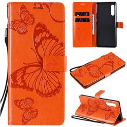 Embossing 3D Butterfly Leather Wallet Case for LG Velvet 5G (LG G9 G900) - Orange