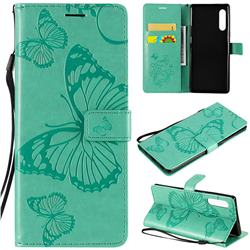 Embossing 3D Butterfly Leather Wallet Case for LG Velvet 5G (LG G9 G900) - Green