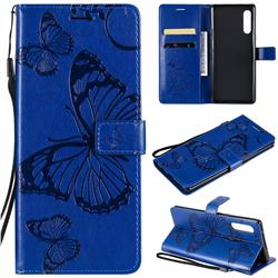 Embossing 3D Butterfly Leather Wallet Case for LG Velvet 5G (LG G9 G900) - Blue