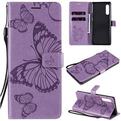 Embossing 3D Butterfly Leather Wallet Case for LG Velvet 5G (LG G9 G900) - Purple