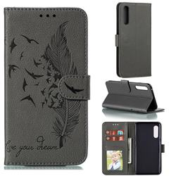 Intricate Embossing Lychee Feather Bird Leather Wallet Case for LG Velvet 5G (LG G9 G900) - Gray