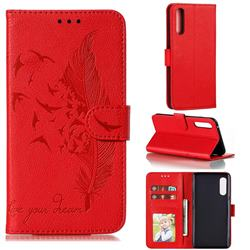 Intricate Embossing Lychee Feather Bird Leather Wallet Case for LG Velvet 5G (LG G9 G900) - Red