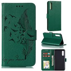 Intricate Embossing Lychee Feather Bird Leather Wallet Case for LG Velvet 5G (LG G9 G900) - Green