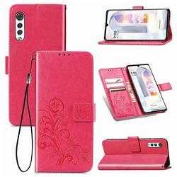 Embossing Imprint Four-Leaf Clover Leather Wallet Case for LG Velvet 5G (LG G9 G900) - Rose Red