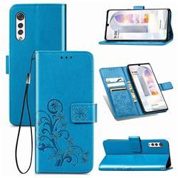 Embossing Imprint Four-Leaf Clover Leather Wallet Case for LG Velvet 5G (LG G9 G900) - Blue