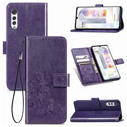 Embossing Imprint Four-Leaf Clover Leather Wallet Case for LG Velvet 5G (LG G9 G900) - Purple