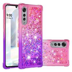 Rainbow Gradient Liquid Glitter Quicksand Sequins Phone Case for LG Velvet 5G (LG G9 G900) - Pink Purple