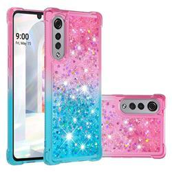 Rainbow Gradient Liquid Glitter Quicksand Sequins Phone Case for LG Velvet 5G (LG G9 G900) - Pink Blue