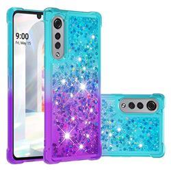 Rainbow Gradient Liquid Glitter Quicksand Sequins Phone Case for LG Velvet 5G (LG G9 G900) - Blue Purple