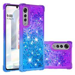 Rainbow Gradient Liquid Glitter Quicksand Sequins Phone Case for LG Velvet 5G (LG G9 G900) - Purple Blue