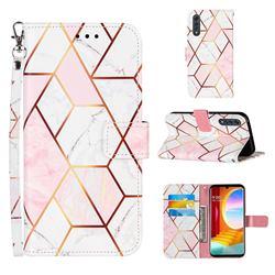 Pink White Stitching Color Marble Leather Wallet Case for LG Velvet 5G (LG G9 G900)