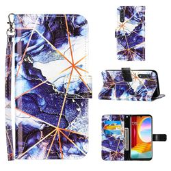 Starry Blue Stitching Color Marble Leather Wallet Case for LG Velvet 5G (LG G9 G900)