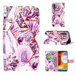 Dream Purple Stitching Color Marble Leather Wallet Case for LG Velvet 5G (LG G9 G900)