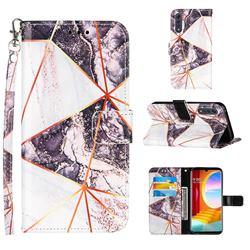 Black and White Stitching Color Marble Leather Wallet Case for LG Velvet 5G (LG G9 G900)