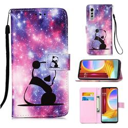 Panda Baby Matte Leather Wallet Phone Case for LG Velvet 5G (LG G9 G900)