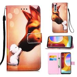 Hound Kiss Matte Leather Wallet Phone Case for LG Velvet 5G (LG G9 G900)