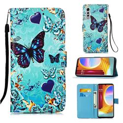 Love Butterfly Matte Leather Wallet Phone Case for LG Velvet 5G (LG G9 G900)