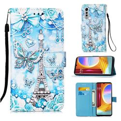 Tower Butterfly Matte Leather Wallet Phone Case for LG Velvet 5G (LG G9 G900)