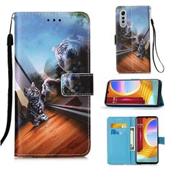 Mirror Cat Matte Leather Wallet Phone Case for LG Velvet 5G (LG G9 G900)