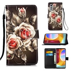 Black Rose Matte Leather Wallet Phone Case for LG Velvet 5G (LG G9 G900)