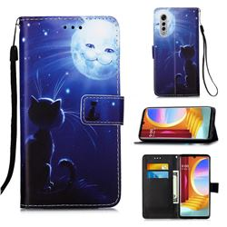 Cat and Moon Matte Leather Wallet Phone Case for LG Velvet 5G (LG G9 G900)