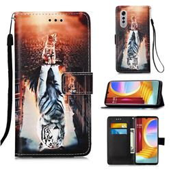 Cat and Tiger Matte Leather Wallet Phone Case for LG Velvet 5G (LG G9 G900)