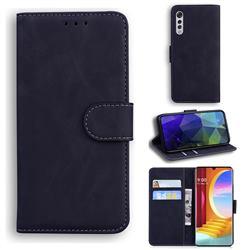 Retro Classic Skin Feel Leather Wallet Phone Case for LG Velvet 5G (LG G9 G900) - Black