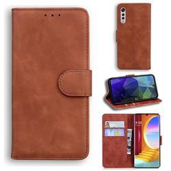 Retro Classic Skin Feel Leather Wallet Phone Case for LG Velvet 5G (LG G9 G900) - Brown