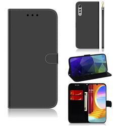 Shining Mirror Like Surface Leather Wallet Case for LG Velvet 5G (LG G9 G900) - Black