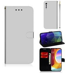 Shining Mirror Like Surface Leather Wallet Case for LG Velvet 5G (LG G9 G900) - Silver