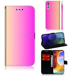 Shining Mirror Like Surface Leather Wallet Case for LG Velvet 5G (LG G9 G900) - Rainbow Gradient