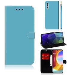 Shining Mirror Like Surface Leather Wallet Case for LG Velvet 5G (LG G9 G900) - Blue